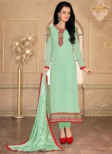 Green Colored Georgette Chudidar Suit.