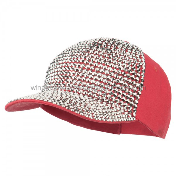 Stones Embellished Baseball Cap - Coral ,Stylish Design Baseball Cap For Men