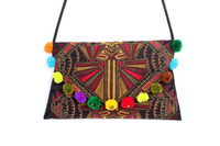 Sublime Sling Bag With A Mocha Deco Jaw Embroidered Pattern, Embroidered Fabric Material, Adorned With Multi Poly Pompom