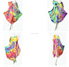 HIPPIE BOHO thai tie dye color block rayon knot women beach maxi sleeved umbrella summer dress plus size