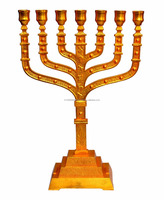 Large 22 inch Classic menorah 12 tribes of Israel (Gold Plated)