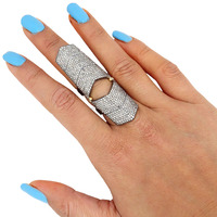 Real Pave Diamond Full Finger Knuckle Ring 925 Sterling Silver Joint Ring Fashion Jewlery Wholesale