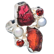 925 SOLID STERLING FINE SILVER ROUGH GARNET & PEARL RING