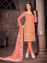 Embroidered Chanderi Chudidar Unstitched Dress Material