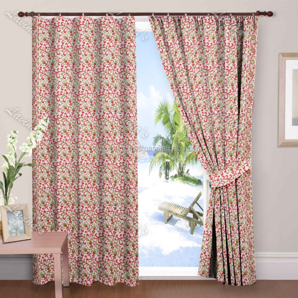 Handmade Block Printed Drapery Door Panel Window Curtain