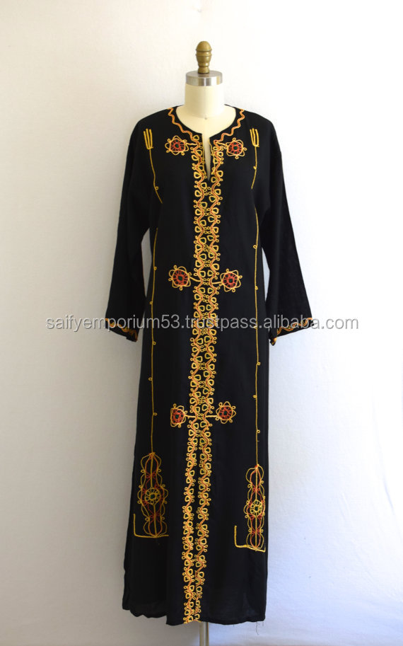 Moroccan Style Caftan/ Embroidered Boho Dress/ Black Tribal Mumu/ Womens