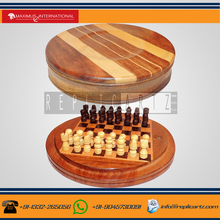 Pegged wooden Traveling Chess Round Board Game