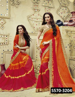 Indian Model Bandhani Printed Georgette Orange & Red Coloured Embroidered With Raw Silk Blouse Sarees