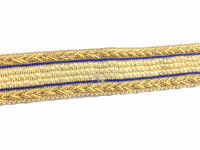 9mtr lace trim 3 row thin pearl, jali fabric, cream golden border blue line