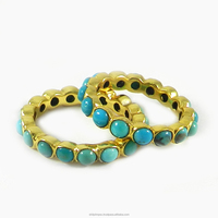 Eternity Ring - 925 sterling silver - Natural Turquoise - Semi precious stone Ring - Bezel Ring - SIRG0274