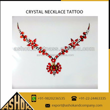 Manufacturer neckless jewelry classic custom self adhesive body tattoo sticker Rhinestone Crystal Neckles tattoos