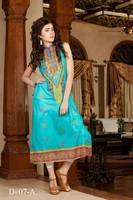 Turquoise colored long Pakistani embroidered kurti Batik design no. 07-A/ wholesale designer kurtis online