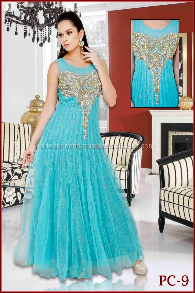 Sea Green Stone Work Gown