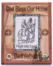 Religious Gift Olive Wood and Mother of Pearl Plaque Flight Into Egypt Zuluf (R) - WAH027