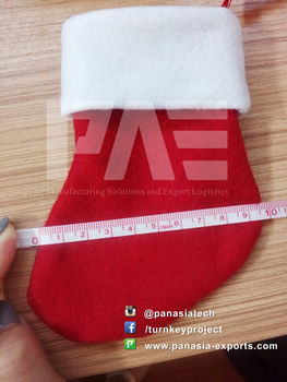 2015 Newest, Funny and Cute Christmas Decoration Sock(Plush, Non-Woven and Fleece Fabric) with Embroidery Logo Printing