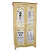 Yellow Color Antique Style Wooden Two Doors Almirah