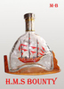 HMS BOUTY SHIP IN MARTELL BOTTLE, UNIQUE GIFT - HANDMADE SHIP MODEL