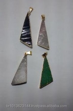 Rough Green Aventurine Triangle Pendant, Gold Plated Jewelry Triangle Green Quartz Pendant Charm Wholesale