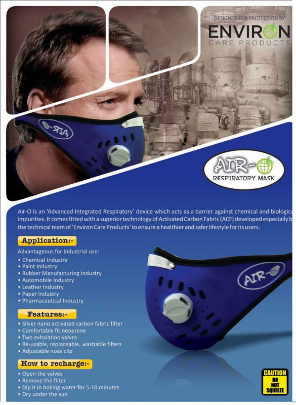 Air-O respiratory mask with silver nano activated carbon filter
