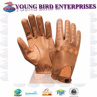 CUSTOM MADE MEN TAN LEATHER CAR DRIVING GLOVES DRESS GLOVES UNLINED CHAUFFEUR