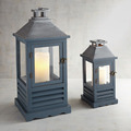 Decorative Indian Lantern | Blue Finish Wooden Lantern With Metal Top