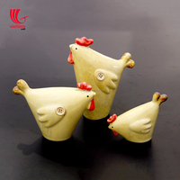 Set of 3 ceramic chicken, hotel/restaurant decoration, Handcrafted of ceramics by talented artisans in Vietnam