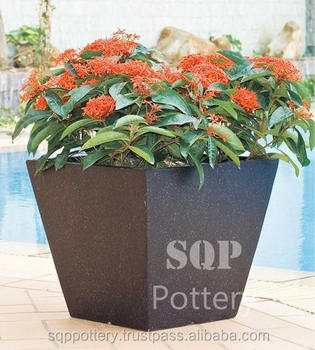 Curved Square Light Terrazzo Pot - Planter