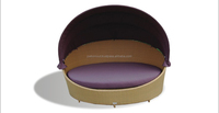 Outdoor aluminium rattan oval day-bed with fabric adjustable roof