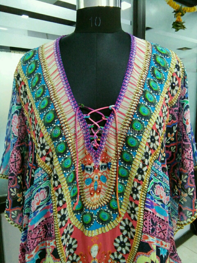 Tie with different color pattern short georgette kaftan