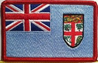 FIJI Flag Embroidery Iron-On Patch Red Border