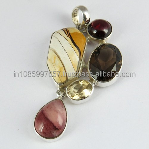Delightful Multi Color 925 Sterling Silver Gemstone Pendant, Exporter And Wholesaler, Silver Jewelry Manufacturer