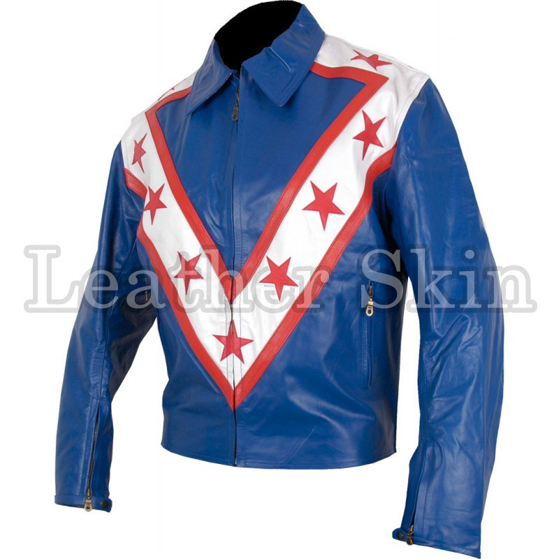 Men Stylish Blue Biker Motorcycle Genuine Leather Jacket with Stars