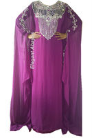 purple Dubai Kaftan shining silver stone beaded evening dress