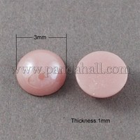 Glass Cabochons, Plated Pearlized, Half Round/Dome, Pink, 3x1mm GGLA-S020-3mm-04