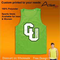 green polyester workout gym clothing UK custom printed