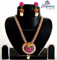 2015 PEARL BEADED HANDMADE JEWELRY-LONG INDIAN ETHNIC PEARL NECKLACE SET-MEENAKARI JEWELLERY -WHOLESALE SOUTH INDIAN RANI HAAR