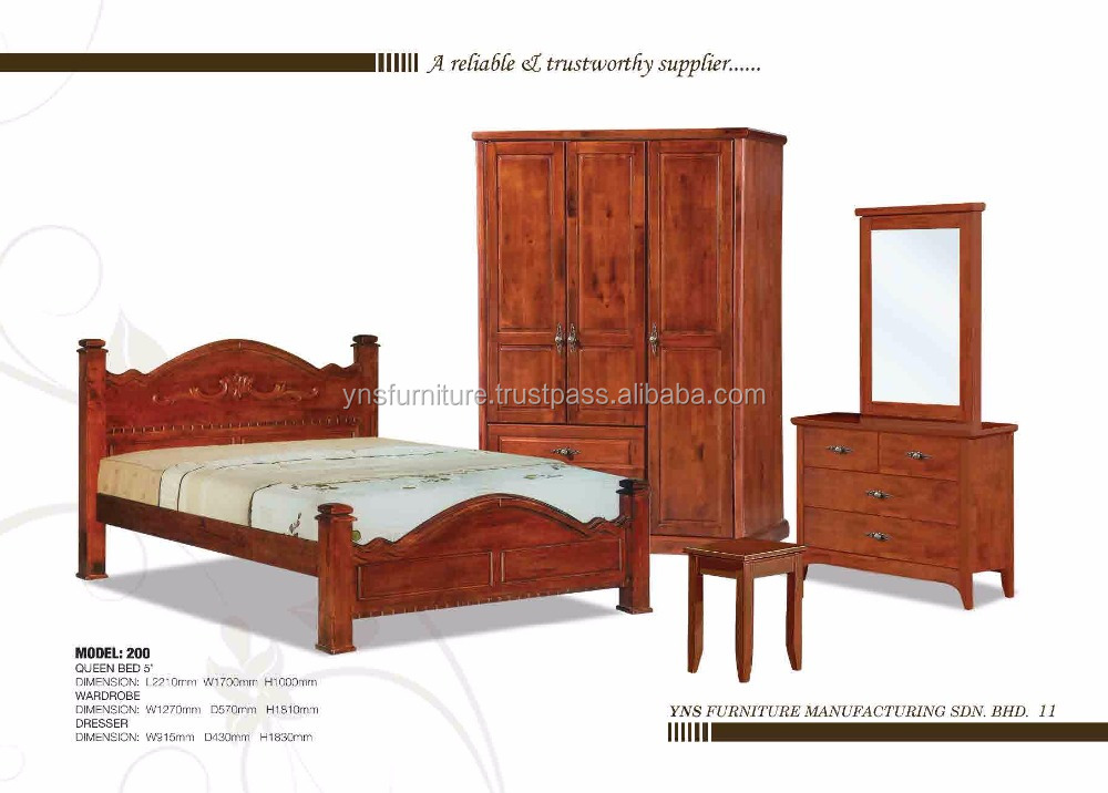 Malaysia Solid wooden Bedroom set & wardrobe closets cabinet & night stand & side table& dresser