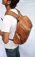 vintage Goat leather rucksack Travel overnight weekend backpack from india