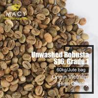 ARABICA COFFEE GREEN COFFEE BEANS UNWASHED ARABICA GRADE 1 S16 IN VIETNAM.