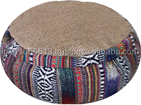 yoga meditation round zafu cushion with Buck wheat filling in combination of natural jute and jacquardfabric with carry handle