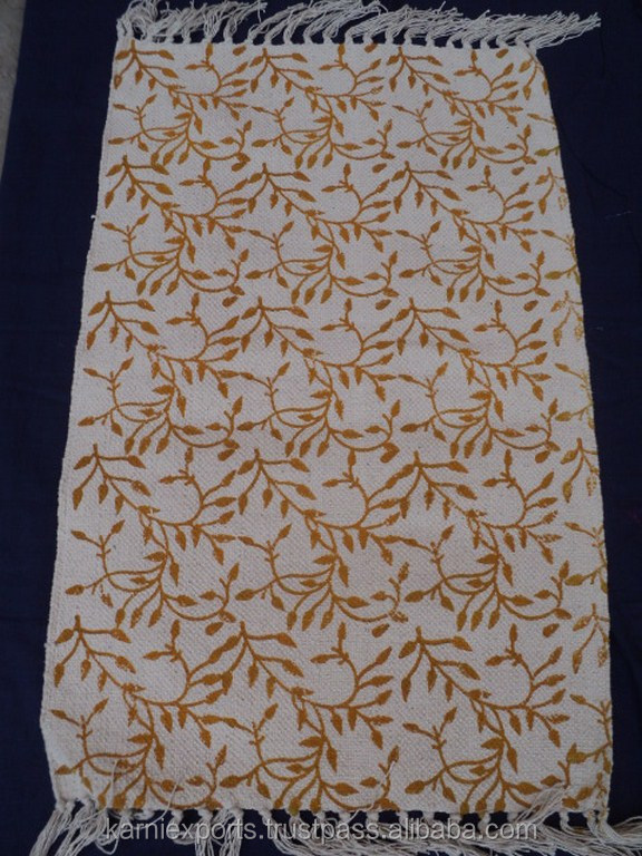 Cotton Hand Loom Yoga Rug / Home Textile Room Rug / Hand Block Printed Rug