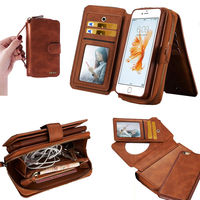 Genuine Leather Wallet Zipper Case Detachable Back Cover For iPhone 6 Samsung S7