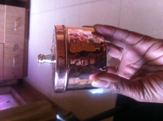 copper candle container hammered