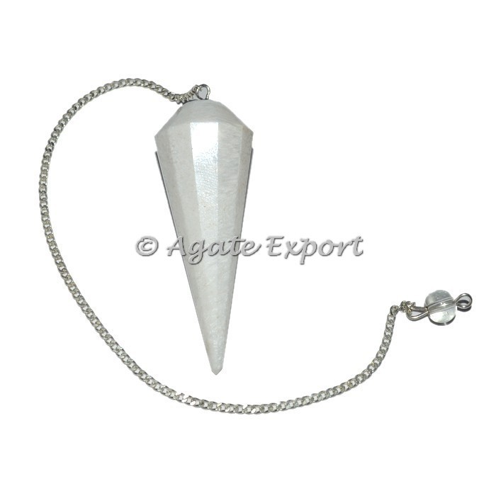 Scolecite 12 Faceted Pendulums : Whole seller Faceted Pendulum