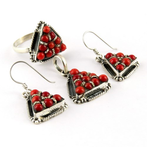 Lovely Petite !! Triangle Red Coral 925 Sterling Silver Jewelry Set, Indian Fashion Silver Jewelry, Fresh Silver Jewelry