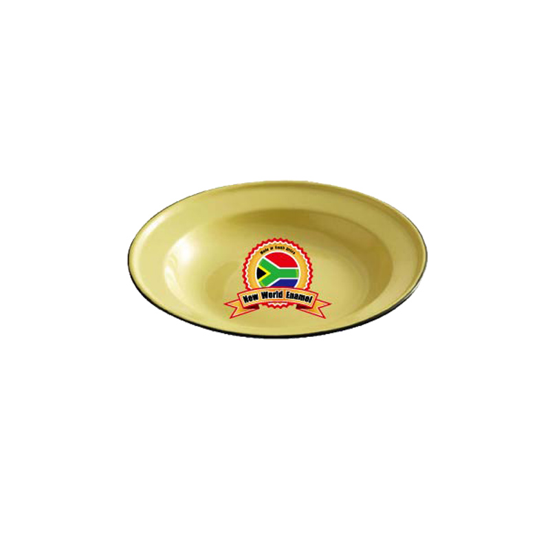 Enamelware Soup Plate 26cm/24cm/22cm/ yellow green color duty free