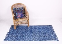 Blue Carpet Area Rug Indian Handmade Rugs And Carpets For Bedroom Slip Rugs For Living Room Large Size