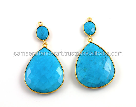 Turquoise gold plated Dangle drop earrings