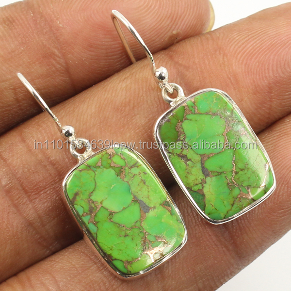 GREEN COPPER TURQUOISE Gemstones Earrings 925 Solid Sterling Sliver ! Trader