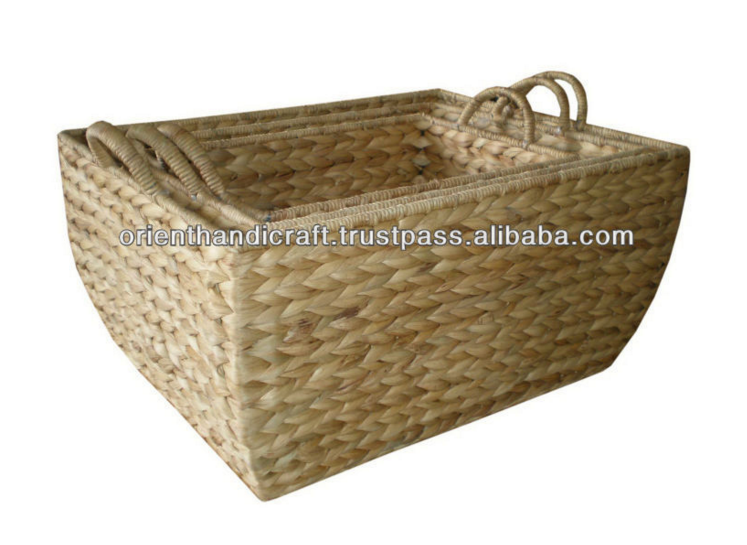 Vietnam Rectangular Water Hyacinth Storage Basket - Set 3 with handles